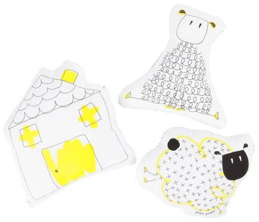Cojines coleccion good night color blanco y amarillo