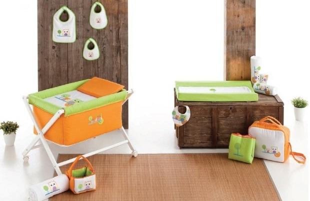 Cambiador para bebé colección buhos en color verde y naranja